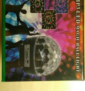Светомузыкальный диско- шар с mp3 плеером, флешкой