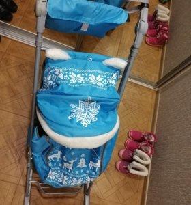 Санки детские лыжи+колёса с сумкой, чехлом