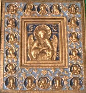 Икона»Спас благое молчание»19 век,литая 2эмальная