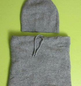 Новый комплект шапка шарф хомут