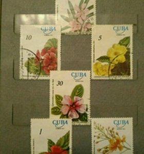 """Марки """"цветы"""" Куба"""