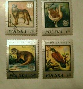 """Марки """"фауна"""" Польша."""