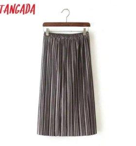 Серая бархатная юбка плиссе