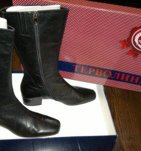 Осенние женские сапоги чёрные кожаные 41р-р