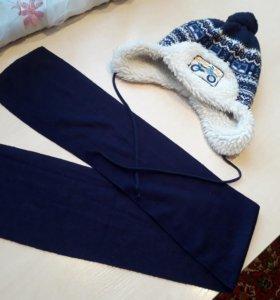 Шапка с шарфиком 1,5-3 года
