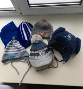 Детские зимние шапочки от 6-9месяцев