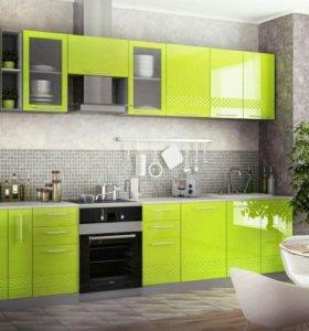 Кухня новая, Лайм 3D фасады.