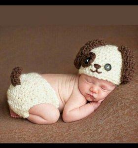 Костюм собачки для новорожденных, для фотосессии