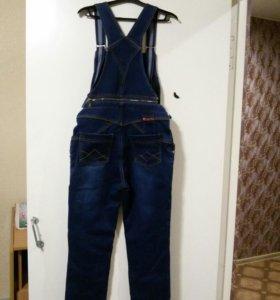 Комбинезон джинсовый для беременных новый теплый