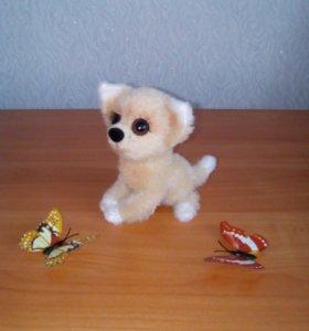 Вязаная игрушка - пушистый щенок!