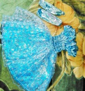 Новогоднее платье для девочки + перчатки