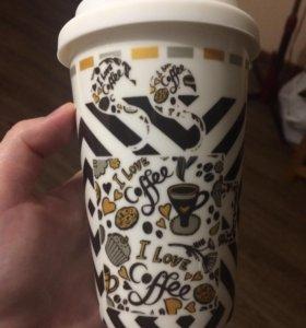 Кружка для кофе с силиконовый крышкой