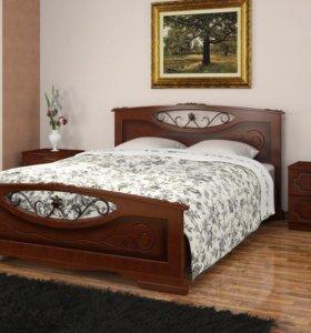 Кровать двуспальная массив + матрас