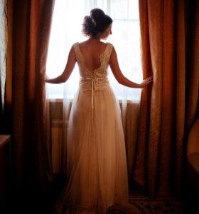 Свадебное платье айвори кружево с открытой спинкой