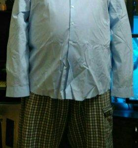 Голубая рубашка классического кроя 5 XL