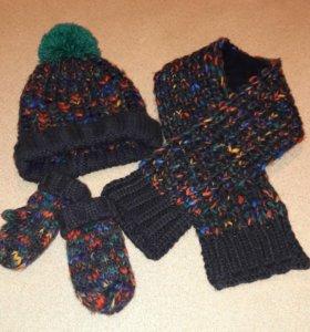 Комплект next: шапка, шарф и варежки