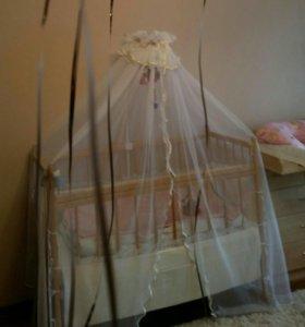 Кроватка детская , балдахин, бортики