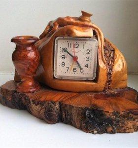 Часы и подставка из корня дерева (новые)