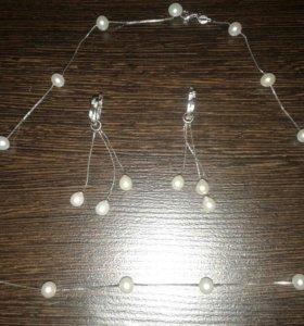 Серебряная цепочка и сережки