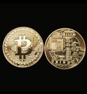 Манета коллекционная биткоин