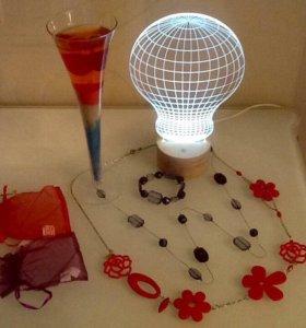 Ночник,свеча и бижутерия
