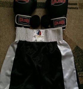 Боксерские перчатки, бинты, шорты