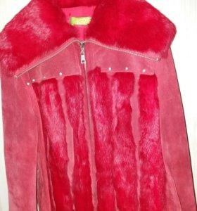 Куртка из нубука с воротником