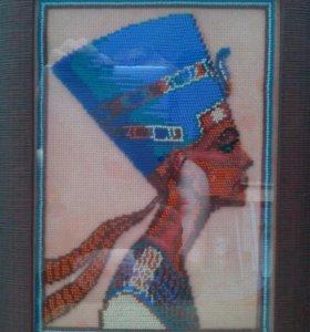 """Картина вышитая бисером""""Нифертити"""""""