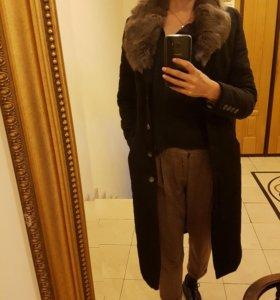 Пальто демисезонное длинное (осень/зима) с мехом