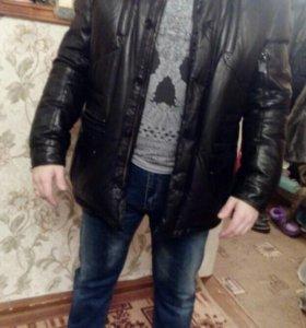 Кожаный зимний пуховик