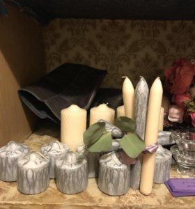 Свечи Айвори и серебряные мрамор