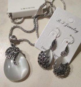 Набор бижутерии серьги и ожерелье