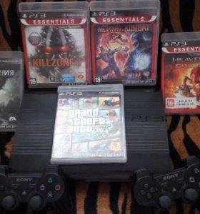 Sony Playstation 3 Super slim 500Гб+2геймпада+игры