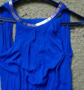 Комбинезон синий, комбез платье костюм брюки