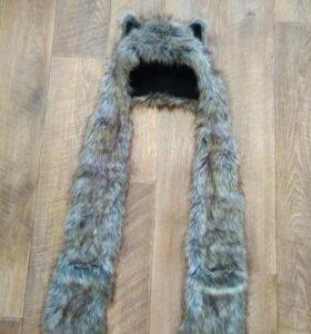 Шапка волк с рукавицами