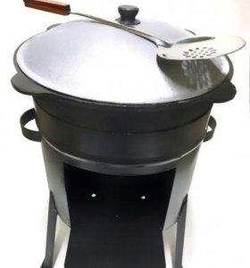 Комплект: казан чугунный + печь - мангал стальная