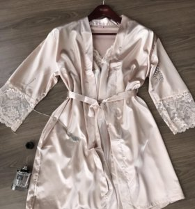 Шёлковый комплект халат +ночная рубашка 😍