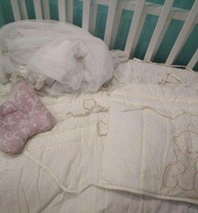 Бортики,балдахин со стойкой, подушка