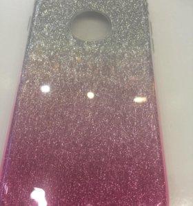 Чехол iPhone 8/7 бланк блёстки розово-серебристые