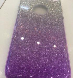 Чехол iPhone 8/7 блёстки фиолетово-серебристые