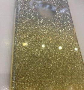 Чехол iPhone 8/7 блёстки золотисто-серебристые