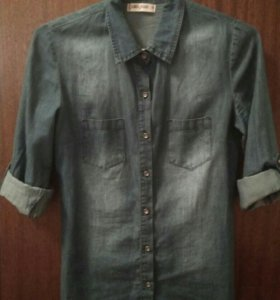 Рубашка джинсовая размер 42