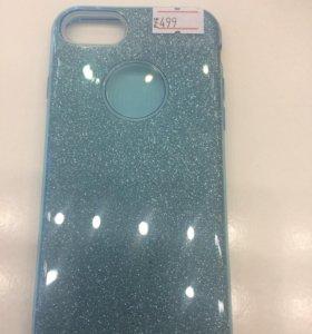 Чехол iPhone 8/7 блёстки голубые