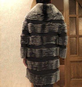 Продам серое вязаное пальто из кролика-рекса