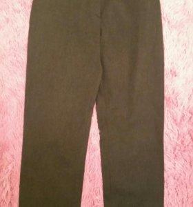 Серые итальянские брюки стрейч с завышенной талией