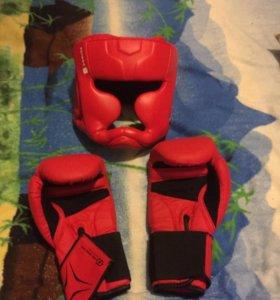 Шлем и перчатки для бокса от 8 до 12 лет