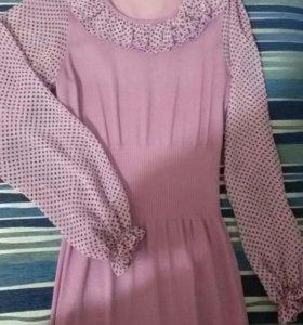 Платье тонкий трикотаж + шифон