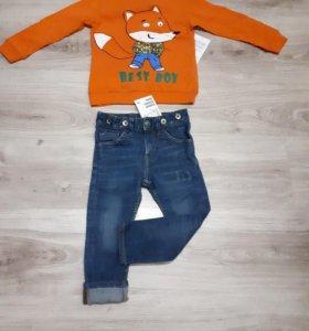 Новый комплект джинсы HM и Лонг. Размер 92.