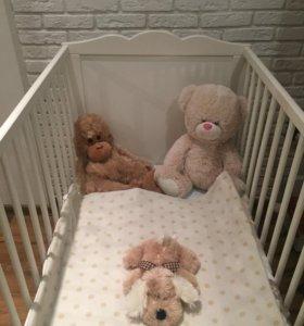 Кроватка IKEA+матрас двусторонний+бортики+подушка