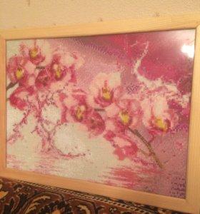 Картина алмазная мозаика «Орхидея»
